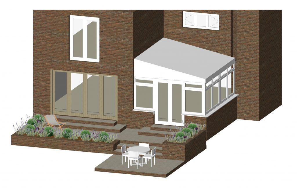 3D Patio Garden Design